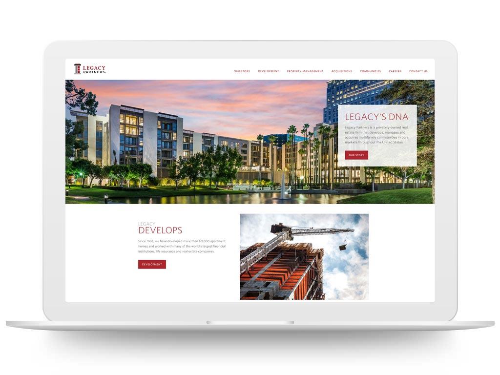 Laptop showing Legacy Partners website - a Respage client